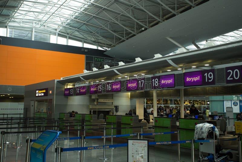 15 de maio de 2014 interior de Ucrânia do aeroporto internacional Borispol: Recepção no aeroporto Borispol, Kiev, Ucrânia imagens de stock royalty free