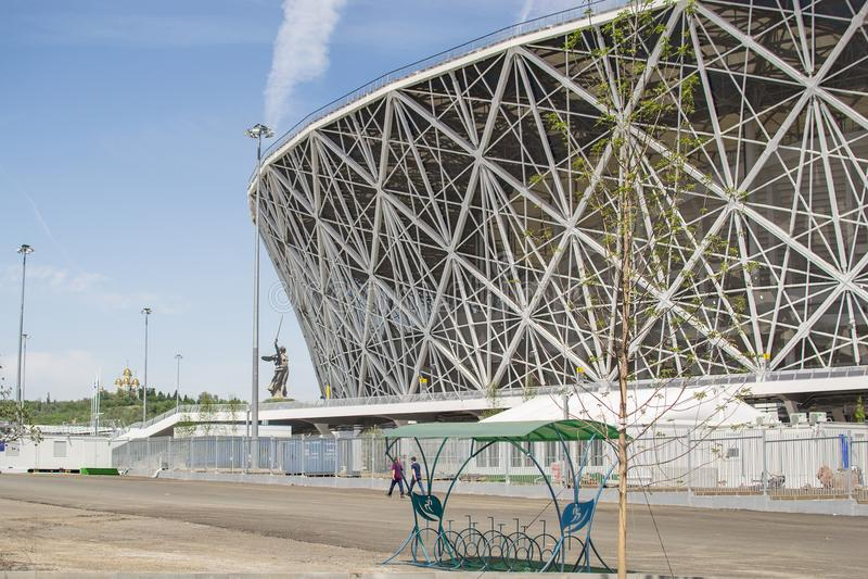 23 de maio de 2018 Volgograd, Rússia Arena nova de Volgograd do estádio de futebol fotografia de stock royalty free