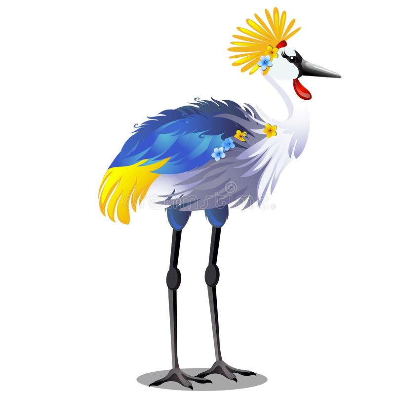 De majestueuze die kraan van de vogelkroon met hoofddeksel of Balearica-pavonina op witte achtergrond wordt geïsoleerd Vectorbeel vector illustratie