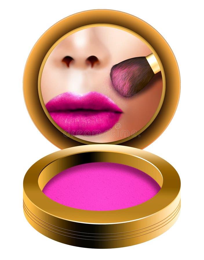 De make-up bloost borstel, bloost de vrouw die het klaar kijken in zakspiegel krijgen met powde stock illustratie