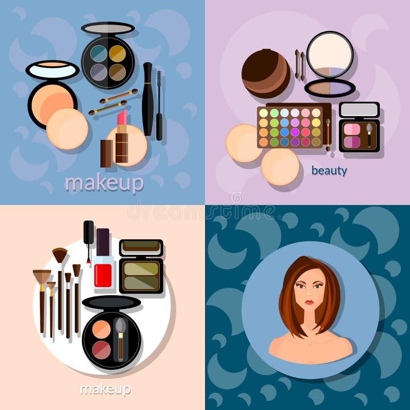 De make-up borstelt hadows de professionele kosmetiek van samenstellingsdetails royalty-vrije illustratie