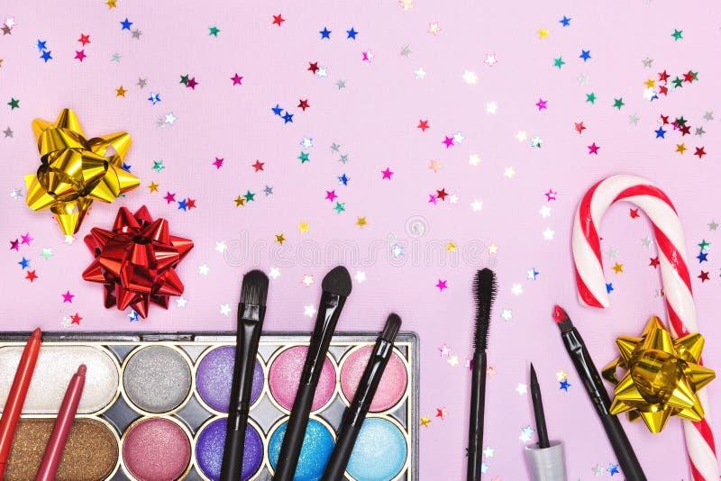 De make-up van de Kerstmispartij stock afbeeldingen