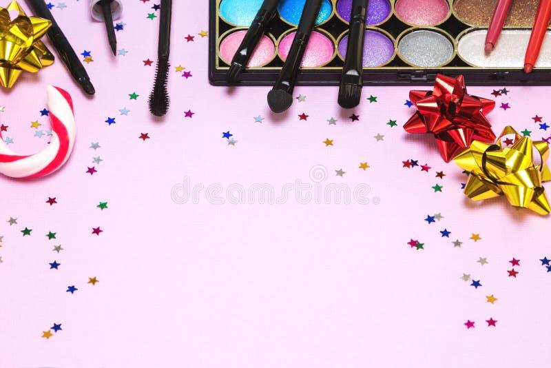 De make-up van de Kerstmispartij royalty-vrije stock afbeeldingen