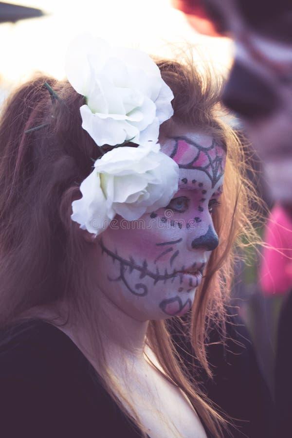 De make-up van de suikerschedel stock afbeeldingen
