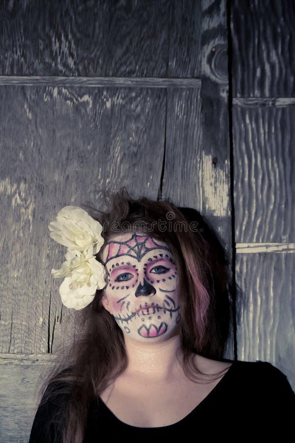 De make-up van de suikerschedel stock fotografie