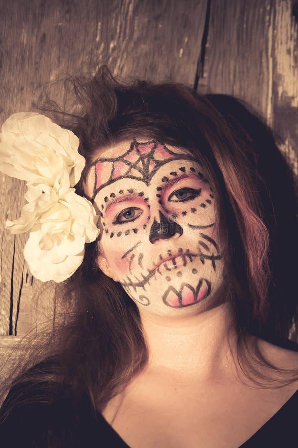 De make-up van de suikerschedel stock foto