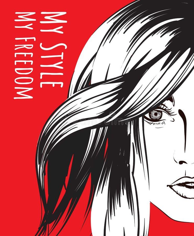 De make-up van Face Het gezicht van de vrouw Hand-drawn mannequin Meisjesgezicht in een modieuze hoed op een zwarte achtergrond stock illustratie
