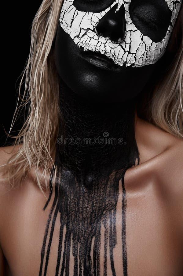 De Make-up van Halloween van de doodsvrouw stock foto