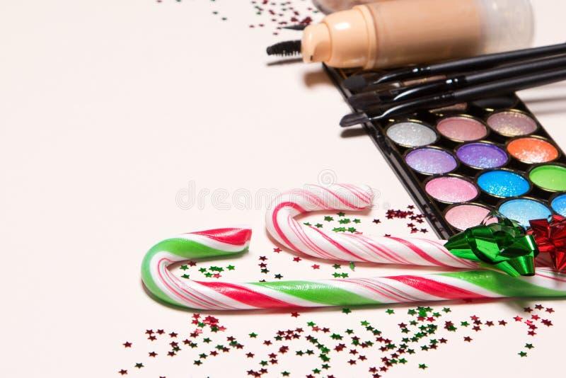 De make-upconcept van de Kerstmispartij stock fotografie