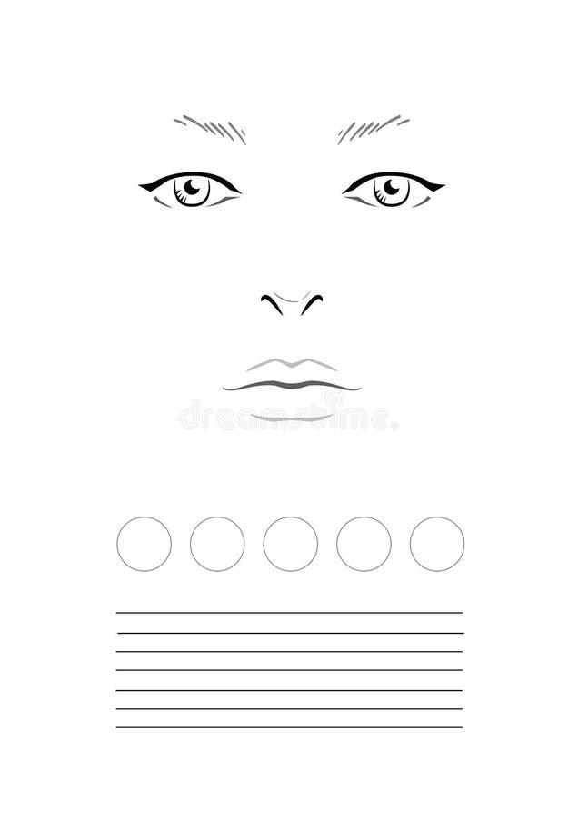 De Make-upkunstenaar Blank van de gezichtsgrafiek malplaatje stock illustratie