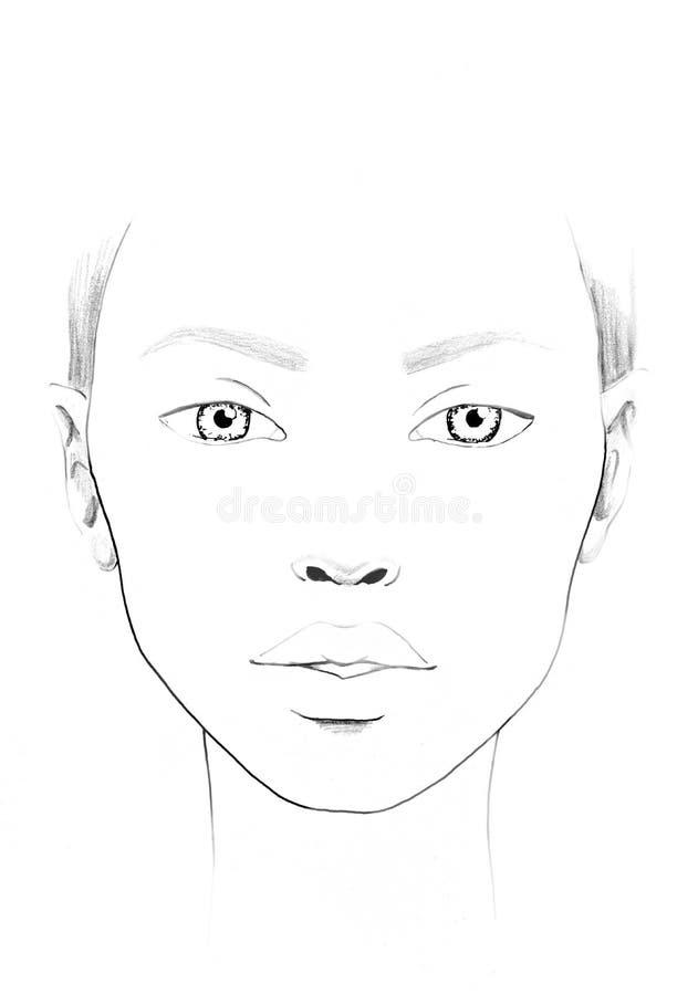 De Make-upkunstenaar Blank van de gezichtsgrafiek Mooi vrouwenportret Gezichtsgrafiek Make-upkunstenaar Blank malplaatje stock illustratie