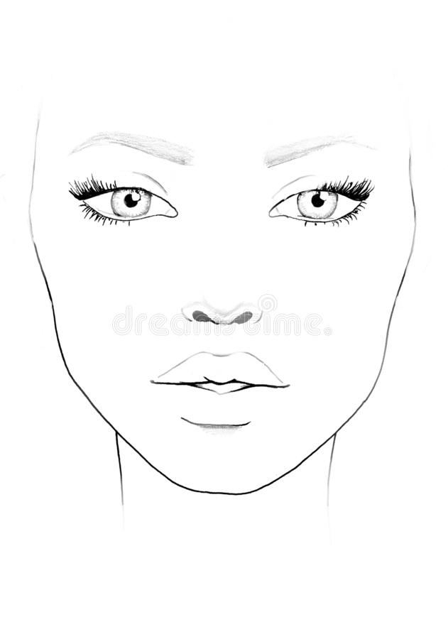De Make-upkunstenaar Blank van de gezichtsgrafiek Mooi vrouwenportret Gezichtsgrafiek Make-upkunstenaar Blank malplaatje vector illustratie