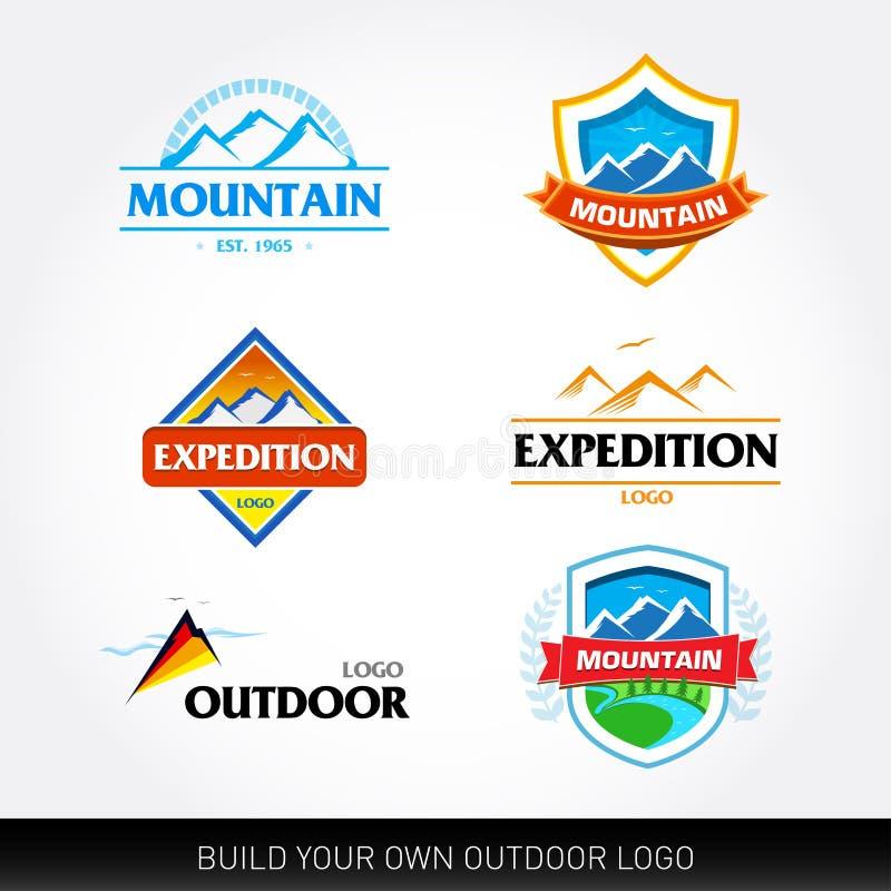 De malplaatjes en het toerisme van het bergembleem Expeditie, avontuur, openluchtkentekens en pictogrammen T-shirtmalplaatjes Bee stock illustratie
