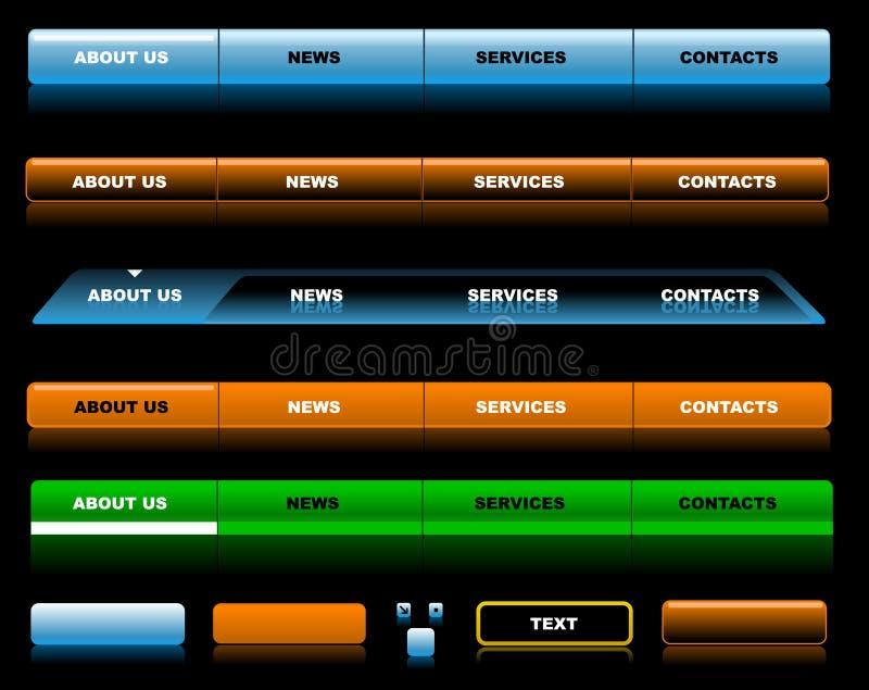 De malplaatjes van de de websitenavigatie van Editable royalty-vrije illustratie