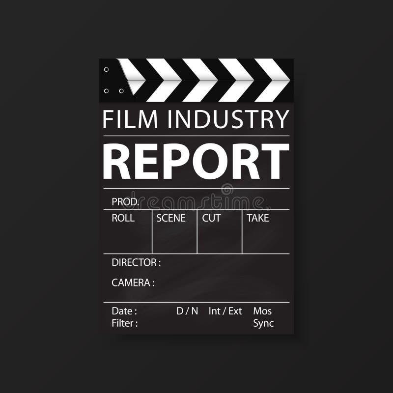 De malplaatjes van de filmindustrie voor vliegers, brochure, jaarverslag, omslag Bioskoop, filmzaken Vector stock illustratie
