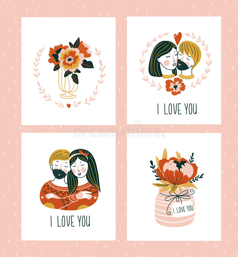 De malplaatjes van de groetkaarten van de valentijnskaartendag met liefde het van letters voorzien, harten, bloemen, paar en inst royalty-vrije illustratie