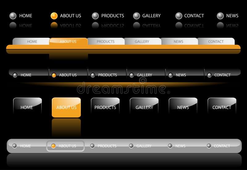 De Malplaatjes van de Navigatie van de website royalty-vrije illustratie