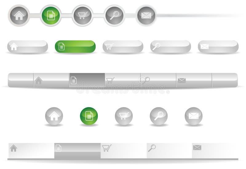 De Malplaatjes van de Navigatie van de website met Pictogrammen vector illustratie