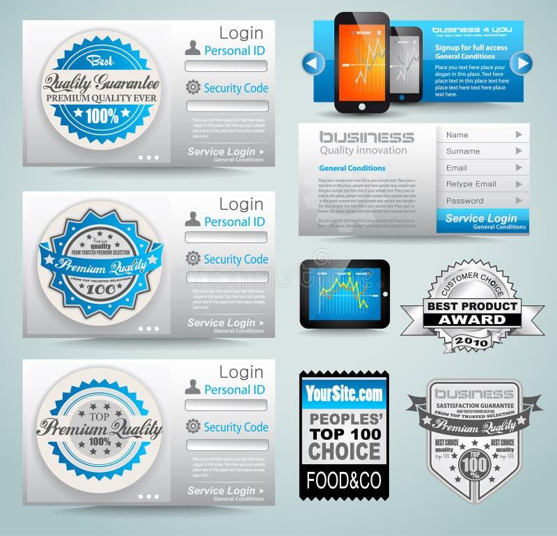 De malplaatjes van de premie en de materialen van het Web stock illustratie