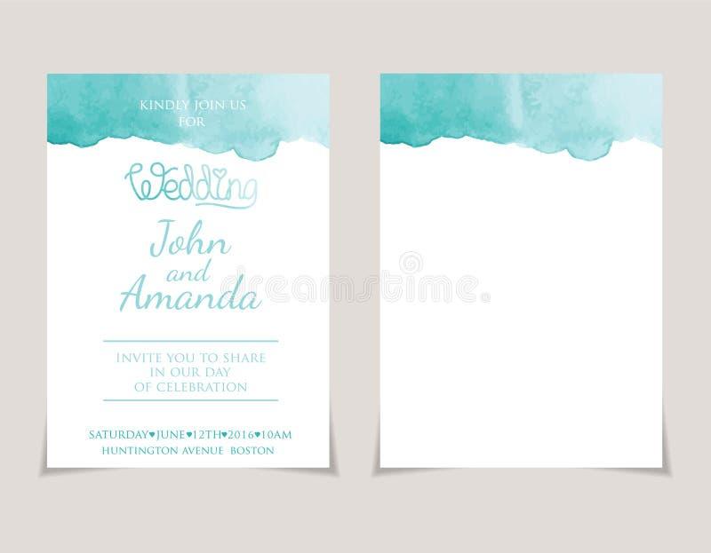 de malplaatjes van de uitnodigingskaart met waterverfelementen Vect vector illustratie
