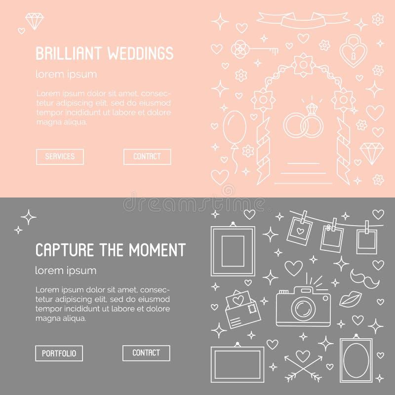 De malplaatjes van de Webbanner - huwelijksagentschap en phographer vector illustratie