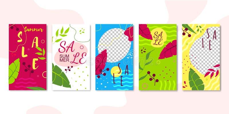 De Malplaatjes van Editable van verkoopverhalen voor het Stromen worden geplaatst die vector illustratie