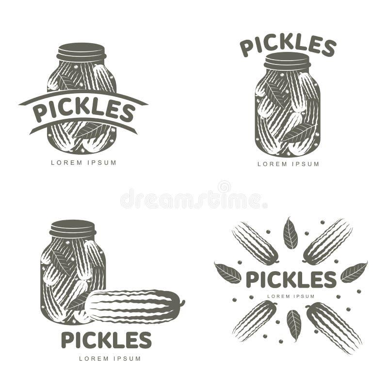 De malplaatjes van het groenten in het zuurembleem vector illustratie