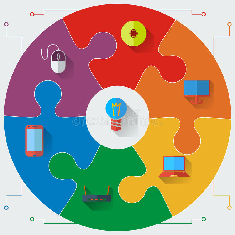 De malplaatjes van het Infographicsrapport in een cirkelraadsel vector illustratie