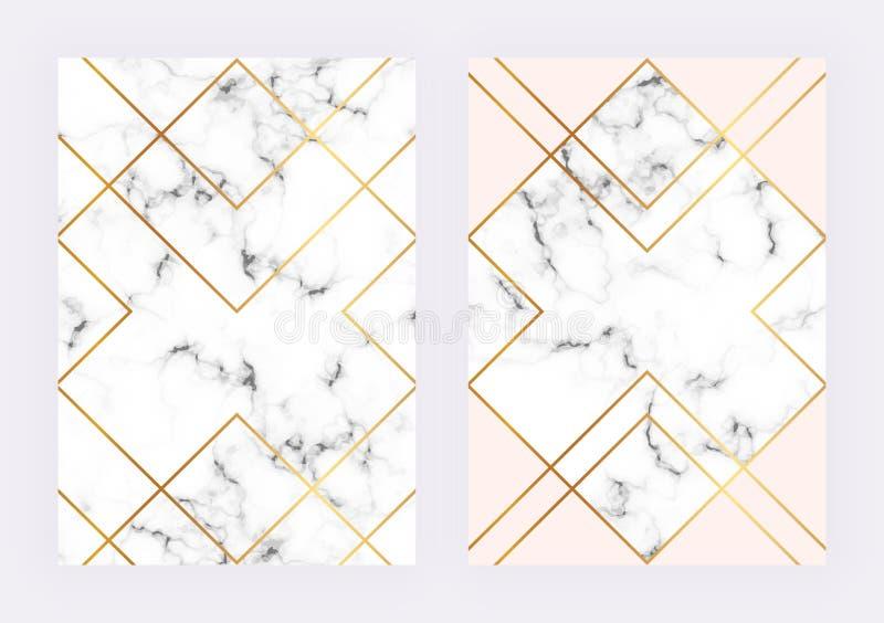 De malplaatjes van het luxehuwelijk met marmeren geometrisch ontwerp met veelhoekige gouden lijnen Moderne backgrond voor uitnodi stock illustratie