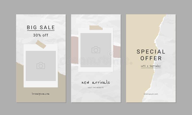De Malplaatjes van Instagramverhalen Editable gescheurd document ontwerp In concept royalty-vrije illustratie