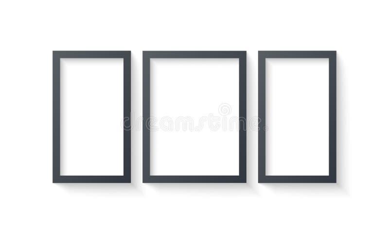 De malplaatjes van de muuromlijsting op witte achtergrond worden geïsoleerd die Lege fotokaders met schaduw en grenzen en schaduw royalty-vrije illustratie