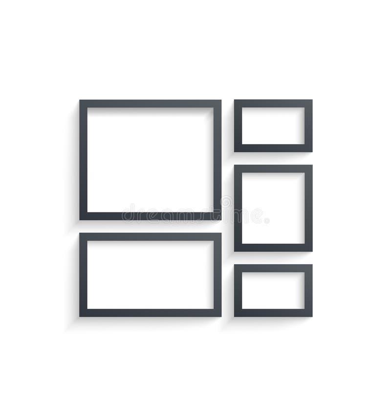 De malplaatjes van de muuromlijsting op witte achtergrond worden geïsoleerd die Lege fotokaders met schaduw en grenzen en schaduw vector illustratie