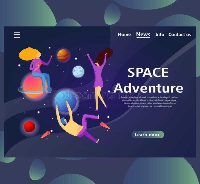 De malplaatjes van de websitepagina met ontwerp ruimteavontuur stock illustratie