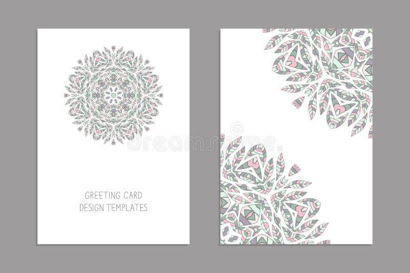 De malplaatjes voor groet en adreskaartjes, brochures, behandelt met bloemenmotieven royalty-vrije illustratie