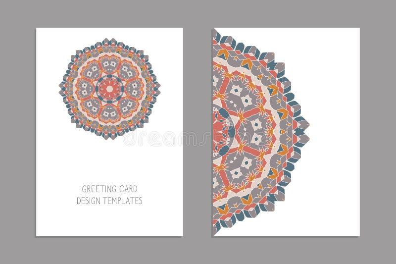 De malplaatjes voor groet en adreskaartjes, brochures, behandelt met bloemenmotieven Oosters patroon mandala royalty-vrije illustratie