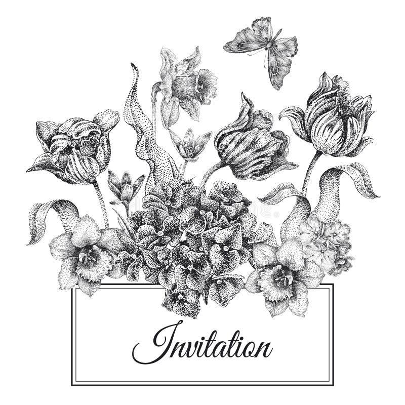 De malplaatjeskaarten van huwelijksuitnodigingen met bloementulpen, hydrang stock illustratie