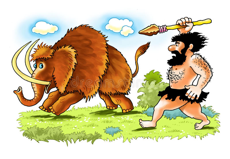 De mammoet Neanderthaler spear van de mensenbarbaar jacht stock illustratie