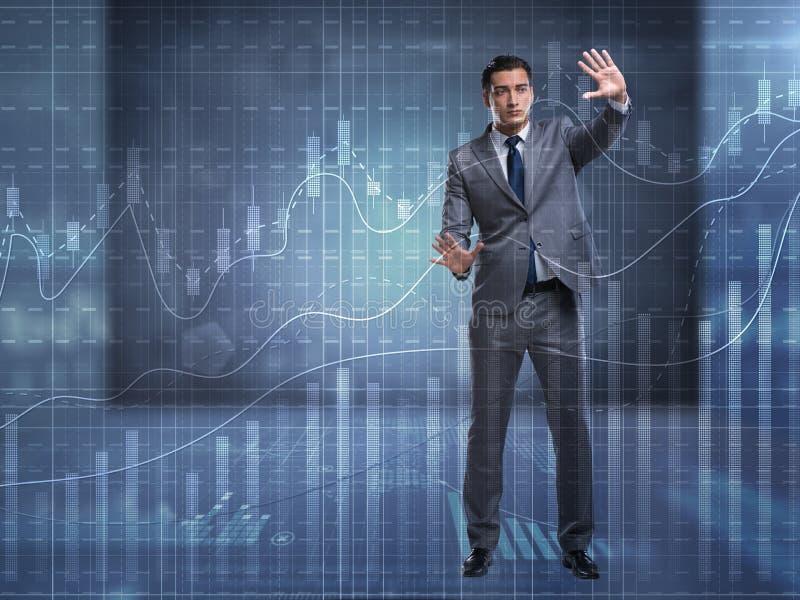 De man in beurs handelconcept vector illustratie