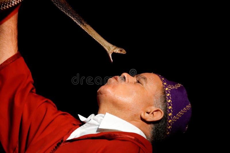 de man die aan slangen spreekt stock fotografie