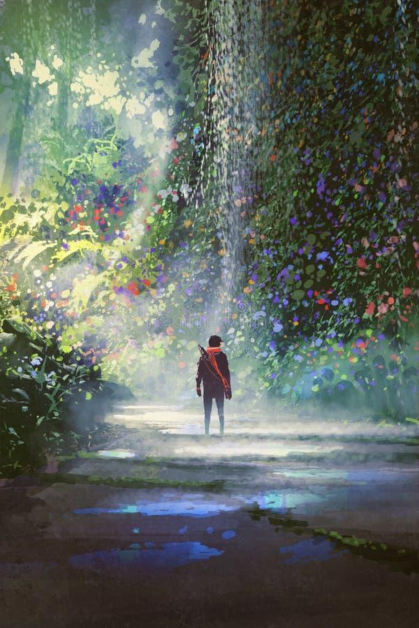 De man die in mooi bos lopen stock illustratie