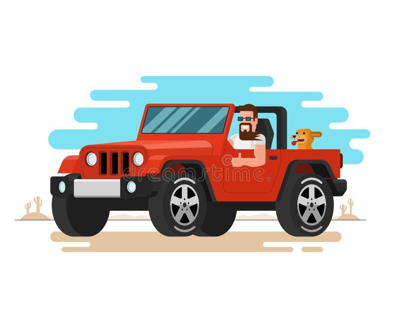 De man die de off-road auto drijven Vlakke stijl vector illustratie