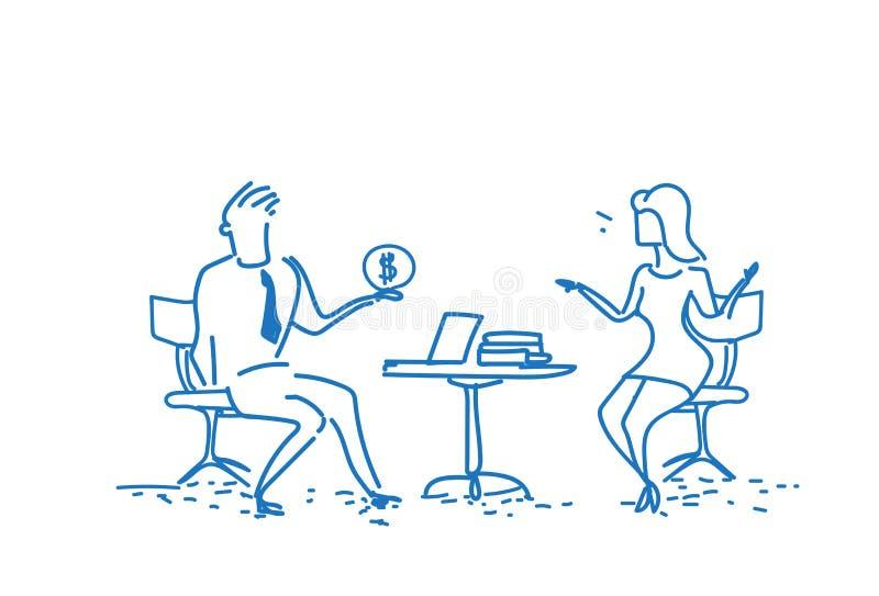 De man die van de het bureauwerkplaats van de bedrijfspaarzitting de vrouw van het dollargeld voor corruptiedoeleinden conceptenz royalty-vrije illustratie