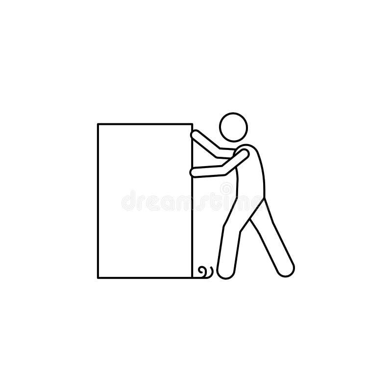 de man duwt het doospictogram Het element van de mens draagt een doosillustratie Grafisch het ontwerppictogram van de premiekwali stock illustratie