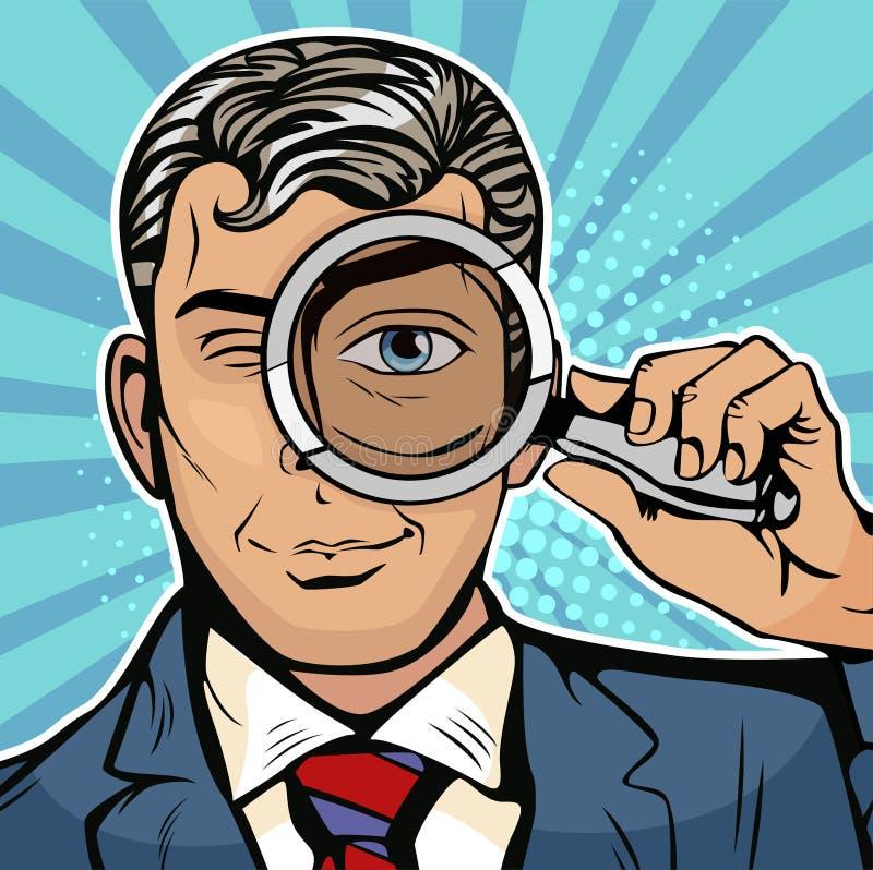 De man is een detective die door vergrootglasonderzoek kijken Vectorpop-artillustratie stock illustratie