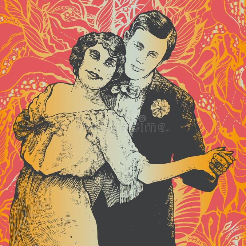 De man en de vrouw dansen een tango stock foto