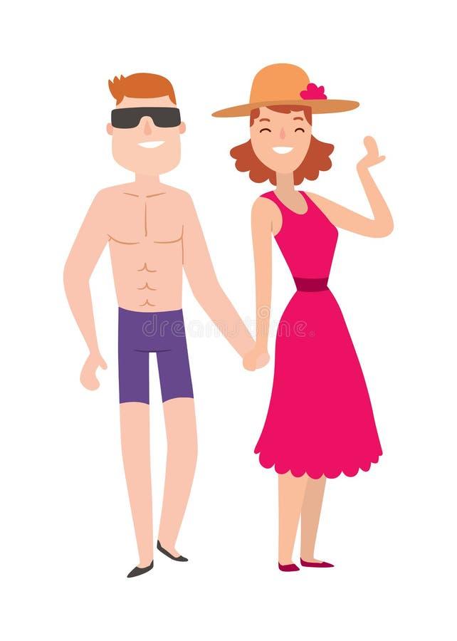 De man en de vrouwenbeeldverhaalillustratie van het paarstrand vector illustratie