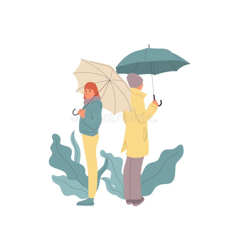 De man en de vrouw bevinden zich ruggen aan elkaar Het paar had argument Ge?soleerdj op witte achtergrond Vlakke de voorraadvecto stock illustratie
