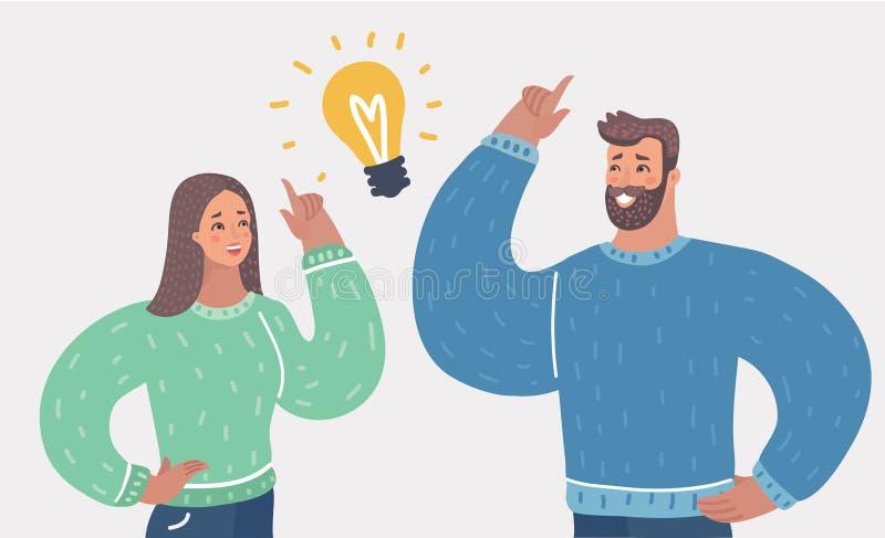 De man en de vrouw hebben een groot idee stock illustratie