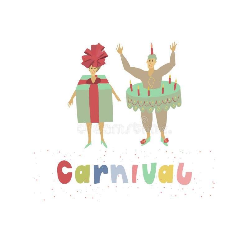 De man en de vrouw kleedden zich in grappige Carnaval-kostuums van giftdoos en cake Veelkleurige titel met feestelijke confettien vector illustratie