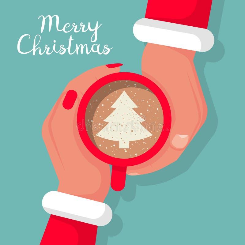 De man en de vrouw in Santa Claus-kostuums zijn greepkop van koffieverstand vector illustratie